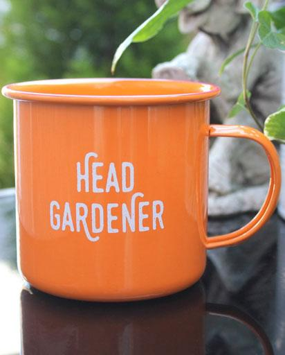 Head Gardener Enamel Mug - Orange