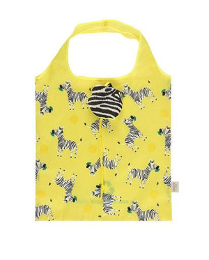 Zoe Zebra Foldable Shopping Bag - Yellow