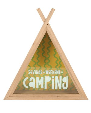 Camping Fund Teepee Money Box - Natural