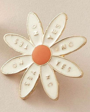 Yes No, Yes No Pin Badge - Flower