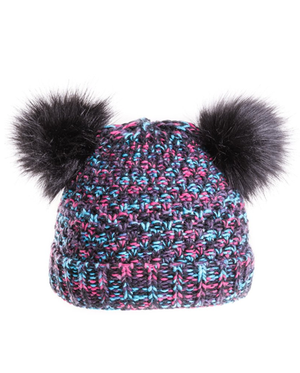 Girls Bella Doubler Pom Bottle Hat - Black
