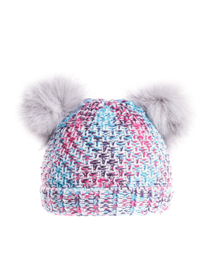 Girls Bella Doubler Pom Bottle Hat - Grey