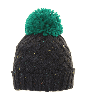 Evercreatures - Mens BoBo Speckle Chunky Knit Bobble Hat - Green
