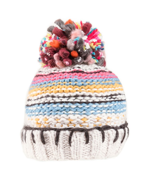 Bunty Chunky Bobble Hat - Fleece Lined - Cream