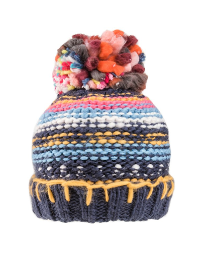 Bunty Chunky Bobble Hat - Fleece Lined - Navy