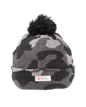 Camo Thinsulate Knitted Bobble Hat - Charcoal