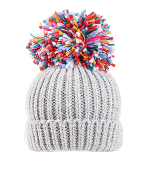 Firework Large Knitted Pompom Hat - Cream