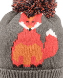Foxy Knitted Pom Pom Hat - Charcoal