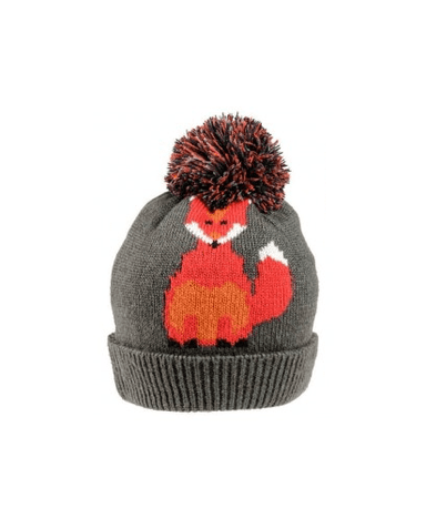 Evercreatures - Foxy Knitted Pom Pom Hat - Charcoal