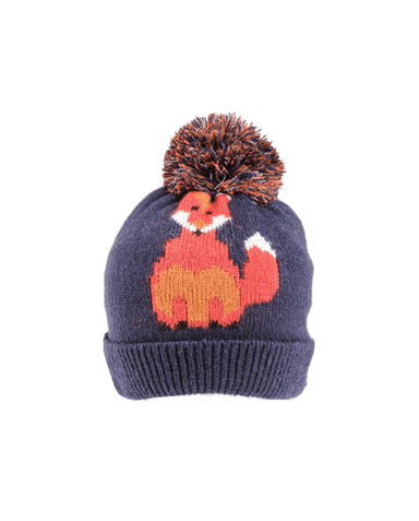 Evercreatures - Foxy Knitted Pom Pom Hat - Navy