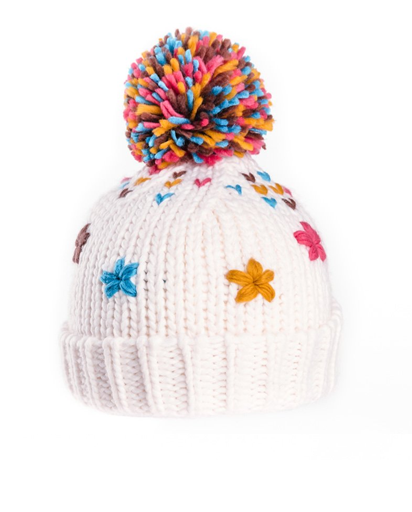 Evercreatures - Girls Maggie Knitted Bottle Hat with Sewn Flowers - Cream