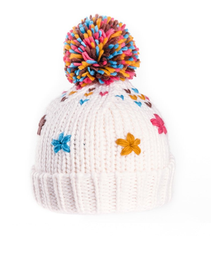 Girls Maggie Knitted Bottle Hat with Sewn Flowers - Cream