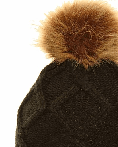 Ladies Michy Cable Knit Bobble Hat Fuax Poms - Black