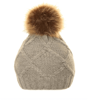 Ladies Michy Cable Knit Bobble Hat Fuax Poms - Grey
