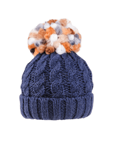 Evercreatures - Ladies Rita Chunky Knit Bobble Hat - Fleece Lined - Navy