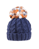 Ladies Rita Chunky Knit Bobble Hat - Fleece Lined - Navy