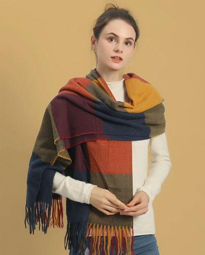 Colour Block Hem Scarf - Blue/Mustard