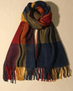 Evercreatures - Colour Block Hem Scarf - Blue/Mustard