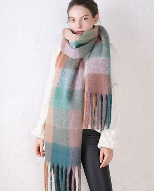 Oversized Colour Block Fringed Hem Scarf - Multi