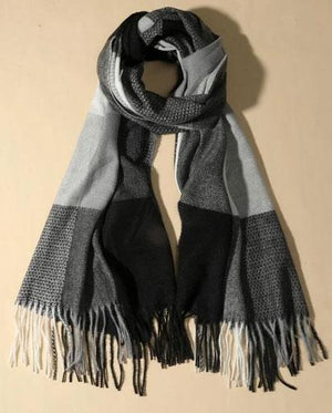 Colour Block Fringed Hem Scarf - Black