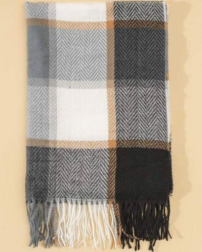 Plaid Fringed Hem Scarf - Multi