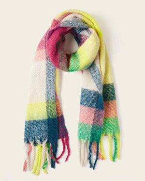 Oversized Plaid Fringed Tassle Scarf - Pink