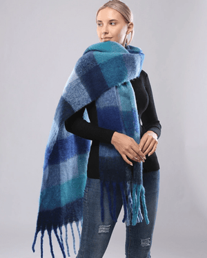 Evercreatures - Oversized Check Fringed Tassle Scarf - Navy