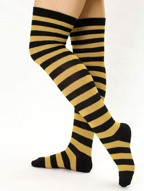 Evercreatures - Bumble Bee Stripe Over the Knee Socks