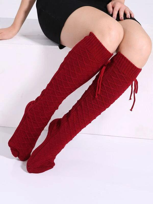 Evercreatures - Burgundy Tie Cosy Knee High Socks