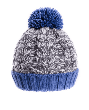 Mens Stan Chunky Cable Knit Bobble Hat - Blue