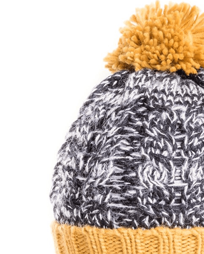 Evercreatures - Mens Stan Chunky Cable Knit Bobble Hat - Mustard