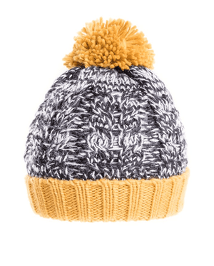 Mens Stan Chunky Cable Knit Bobble Hat - Mustard