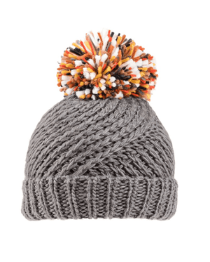 Stella Chunky Knitted Pom Pom Hat - Charcoal