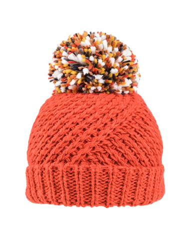 Evercreatures - Stella Chunky Knitted Pom Pom Hat - Coral