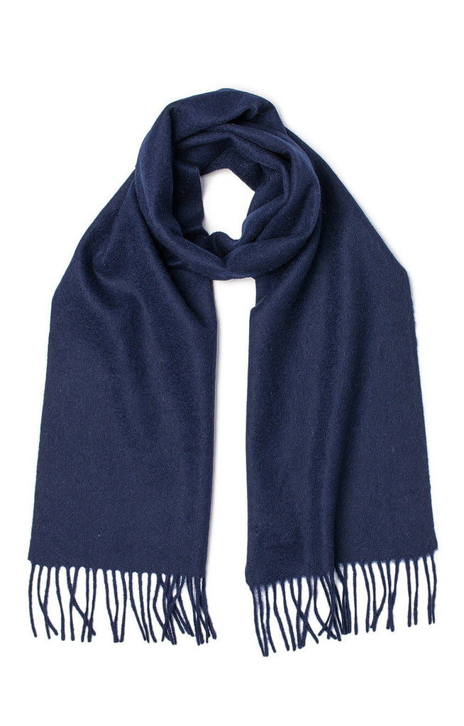 100% Lambswool Plain Navy Scarf - Evercreatures wellies