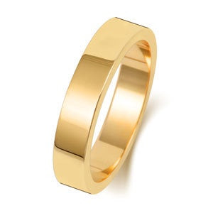 9ct Yellow Gold 4mm Medium Flat Wedding Ring
