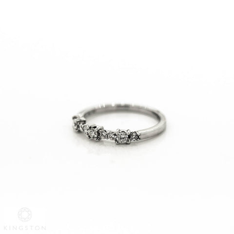 9ct White Gold Diamond Half eternity ring