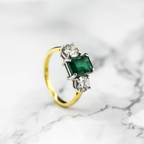 18ct Yellow and White Gold Emerald And Diamond Three Stone Ring