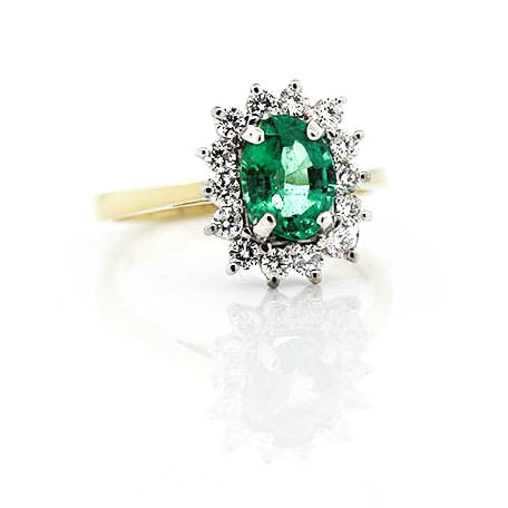 Emerald Cluster Ring ,