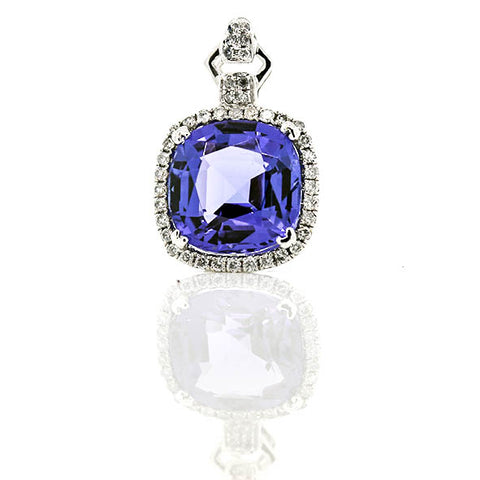 18ct White Gold Tanzanite And Diamond Pendant Set With 4.28ct Cushion Cut Tanzanite With Diamond Surround