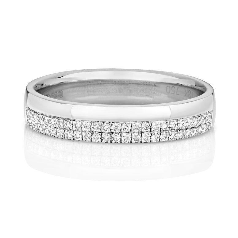 9ct white gold two row pave set diamond wedding ring