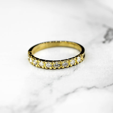 18ct Yellow Gold 9 Stone Diamond Ring
