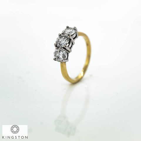 Beautiful Ladies 18ct Yellow And White Gold 1.75ct Diamond Three Stone Ring