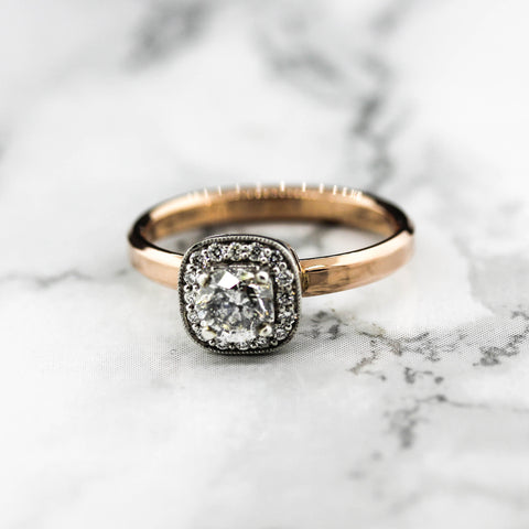 18ct Rose Gold Ladies Halo  Diamond Engagement Ring