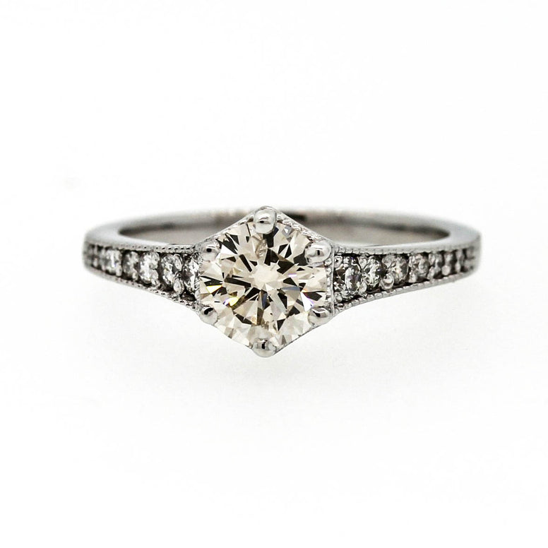 18ct White Gold Vintage Style Brilliant Cut Diamond Ring 1ct