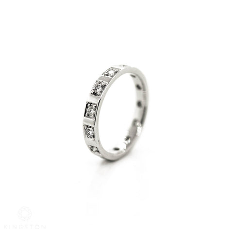 ladies white gold full diamond wedding ring