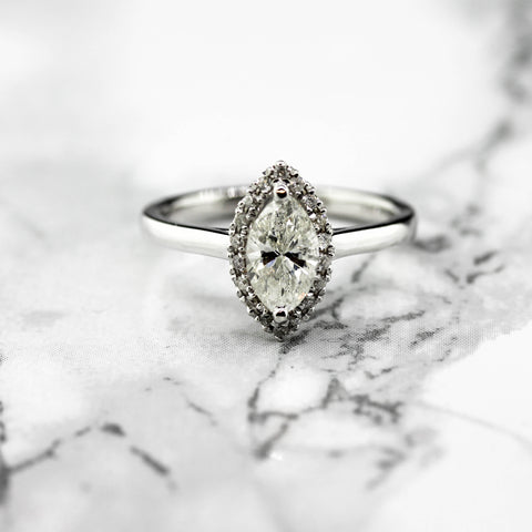 Ladies 18ct white Gold Diamond Marquise Halo Ring