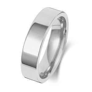 9ct White Gold 5mm Medium Flat Wedding Ring