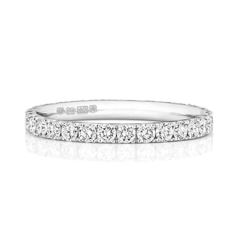 Ladies 18ct white Gold 2.1mm Full Diamond Ring