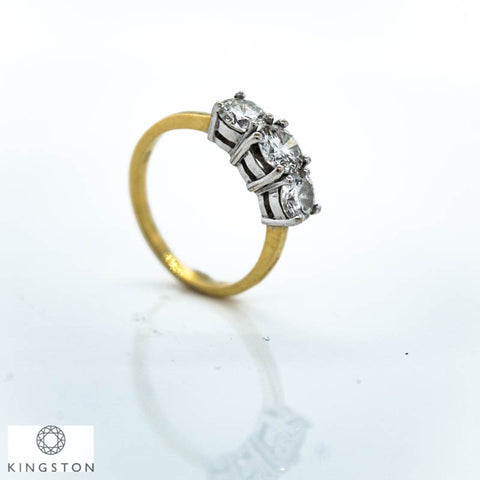 18ct Yellow And White Gold Three Stone Diamond Ring 1.65ct
